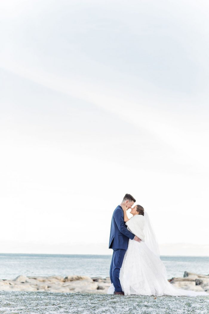 Bride and Groom portrait in front of Lake Michigan