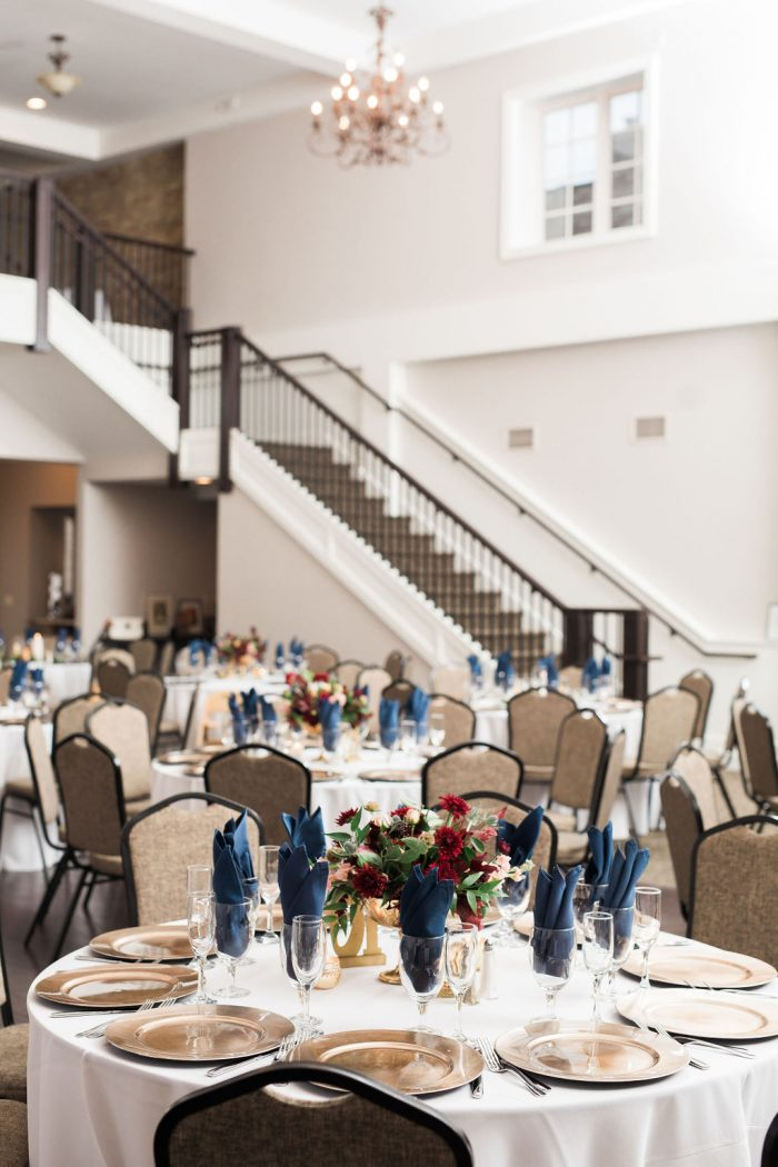 Wedding Venue with 22-foot tall ceilings, chandeliers, and a grand staircase