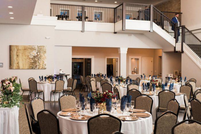 View of a wedding venue with a loft-like balcony