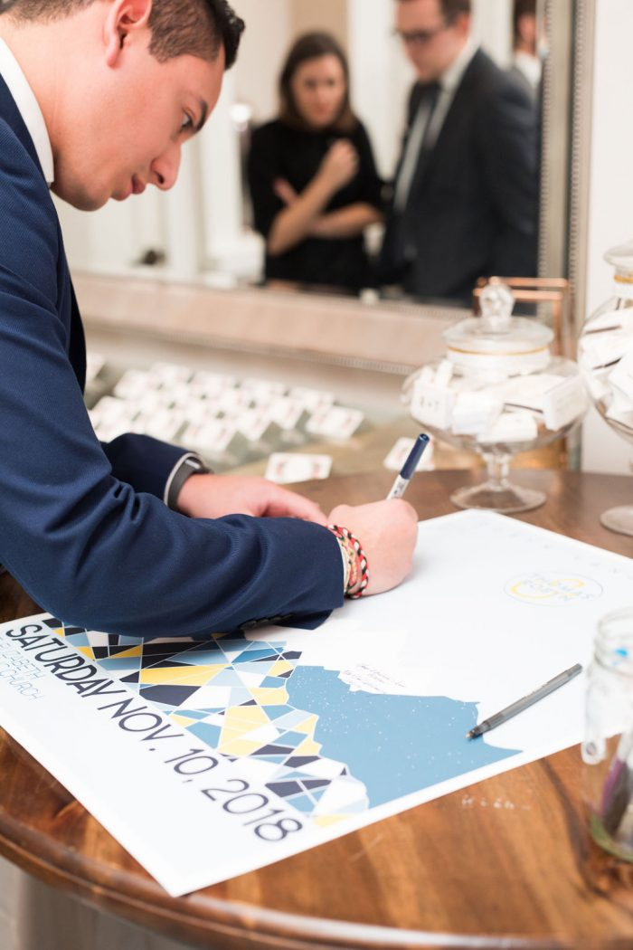 Wedding Guest signing a guest book poster