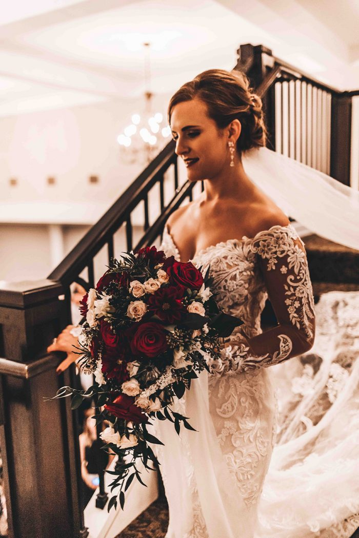 Bride walking down the staircase for her grand entrance