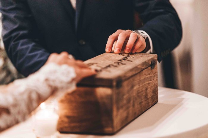 Bride and Grooms on their Unity Wine Box
